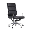 Mid-Century Modern Office Chair, High Back in Black Leather