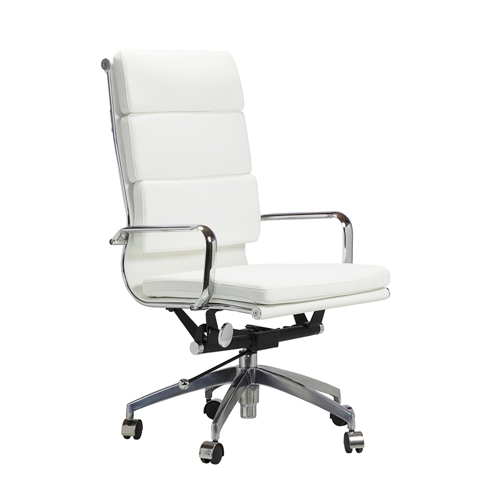 Mid-Century Modern Office Chair in White Leather