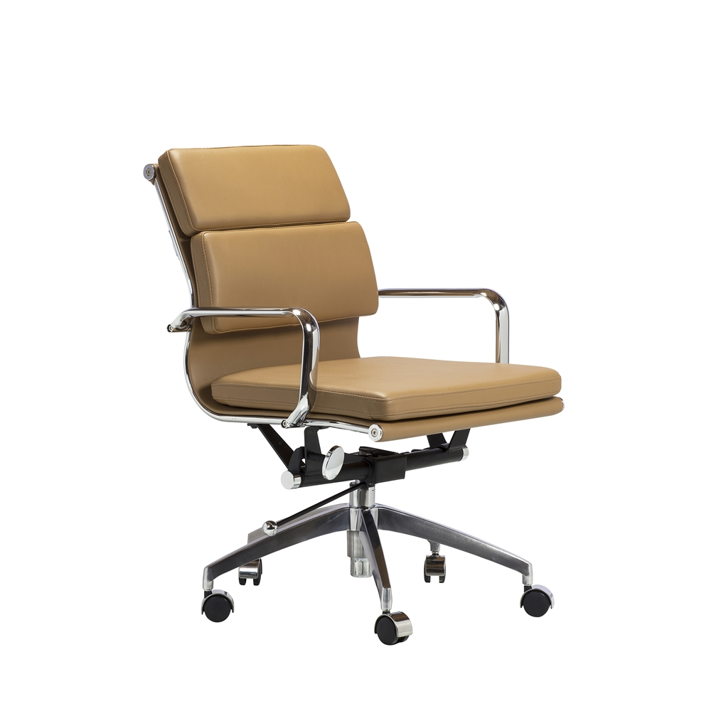 Mid Century Modern Office Chair In Brown Leather The Khazana Home