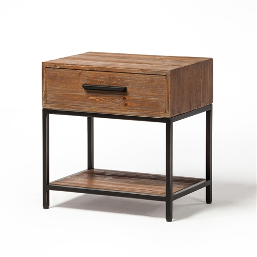 Elegant Reclaimed 1 Drawer End Table