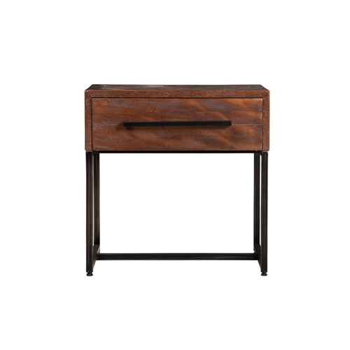Herringbone Inlay 1 Drawer Night Stand