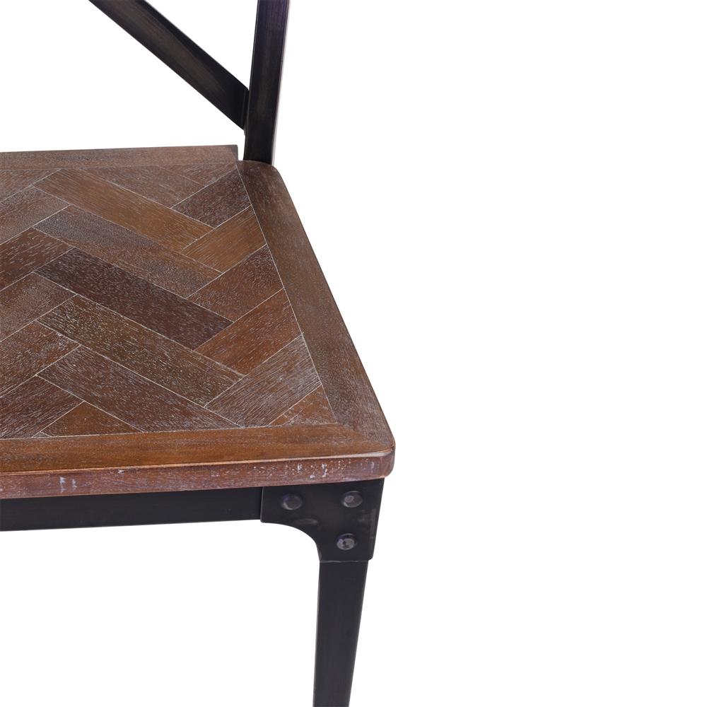 Amazing Industrial Herringbone Inlay Dining Chair