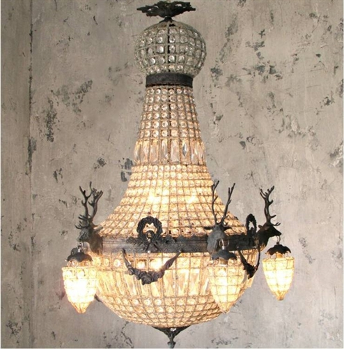 Crystal Stag Chandelier