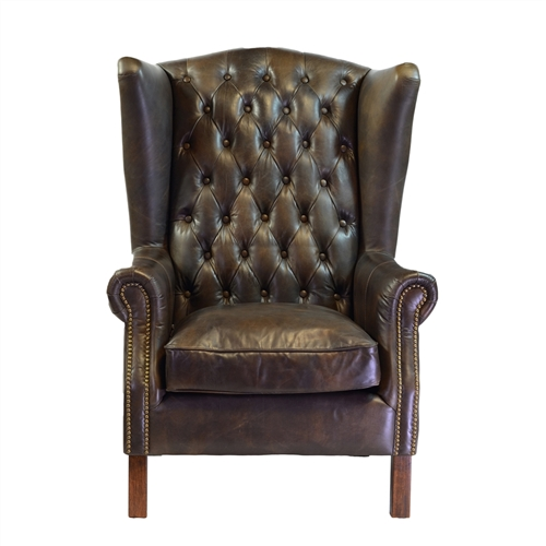 Moscow Antique Leather Wing Chair