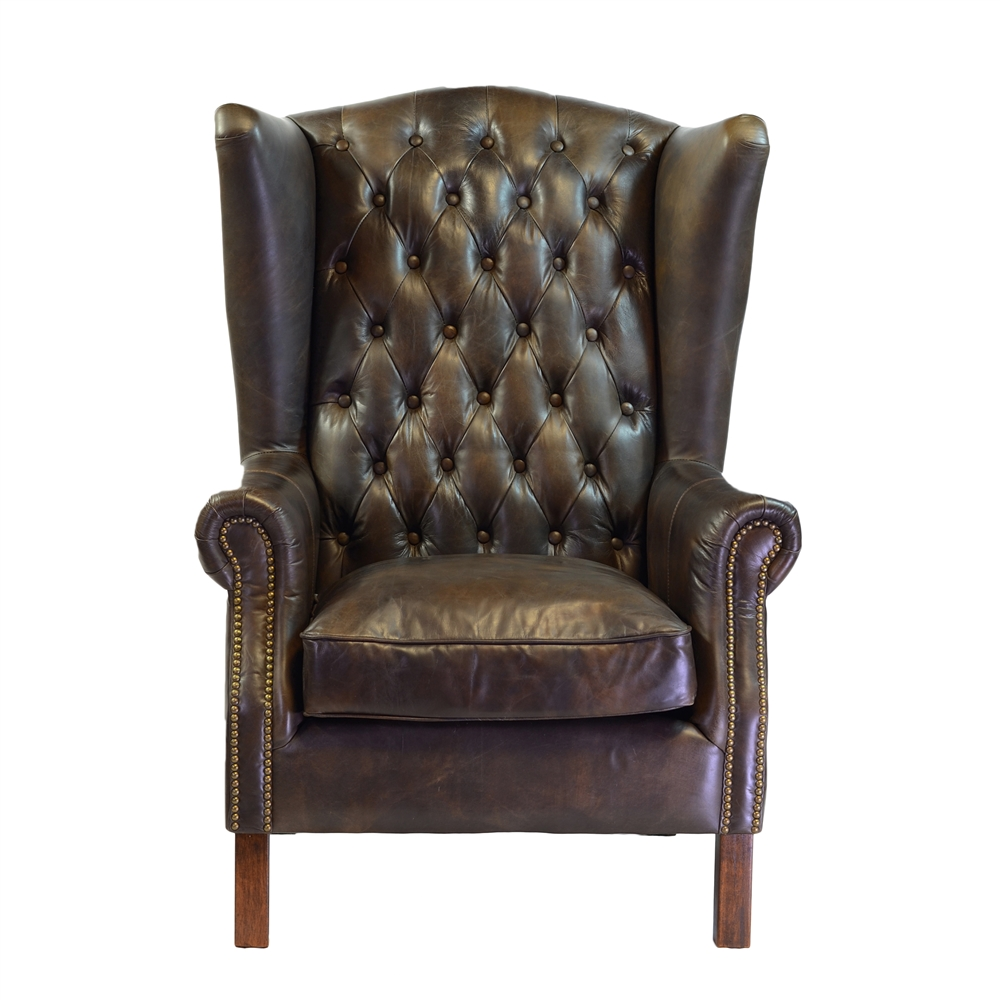 Moscow Antique Leather Wing Chair - Moscow Antique Leather Wing Chair, The Khazana Home Furnishings