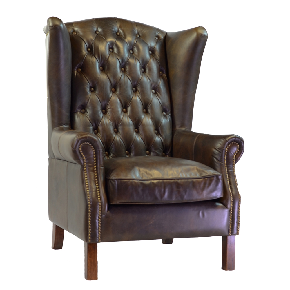 Superbe Moscow Antique Leather Wing Chair