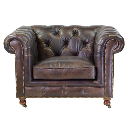 Chesterfield Club Chair in Antique Brown Leather