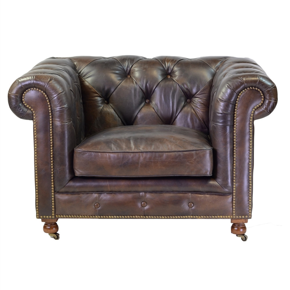 - Chesterfield Club Chair In Antique Brown Leather
