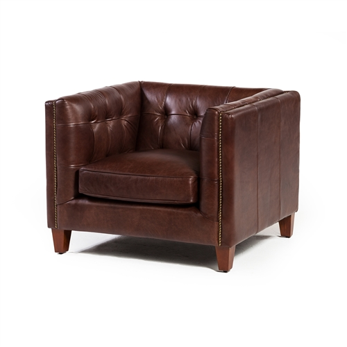 Cape Town Club Chair in Antique Brown Leather