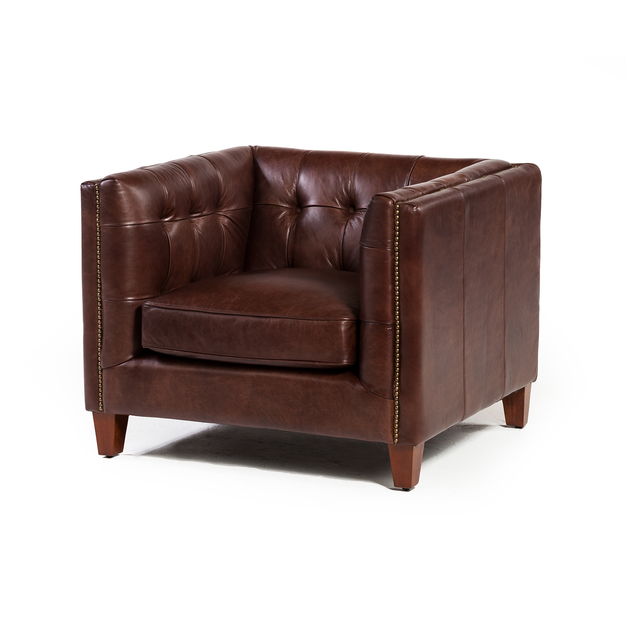 Cape Town Club Chair In Antique Brown Leather The Khazana Home Furnishings