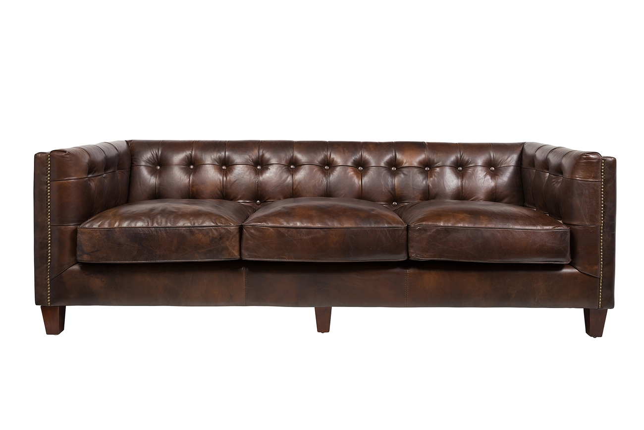 3 Seater Sofa In Antique Brown Leather