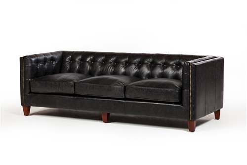 Cape Town 3 Seater Sofa in Antique Black Leather