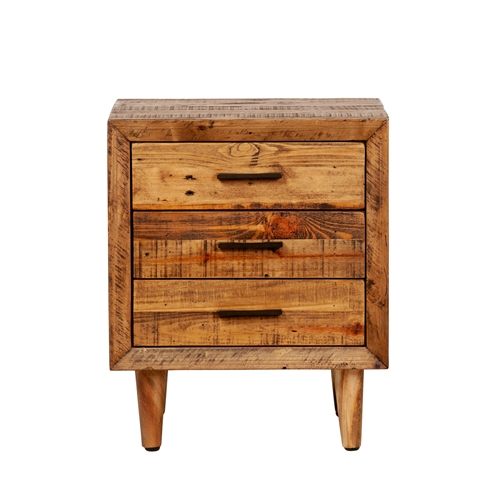 Reclaimed Pine Three Drawer Nightstand
