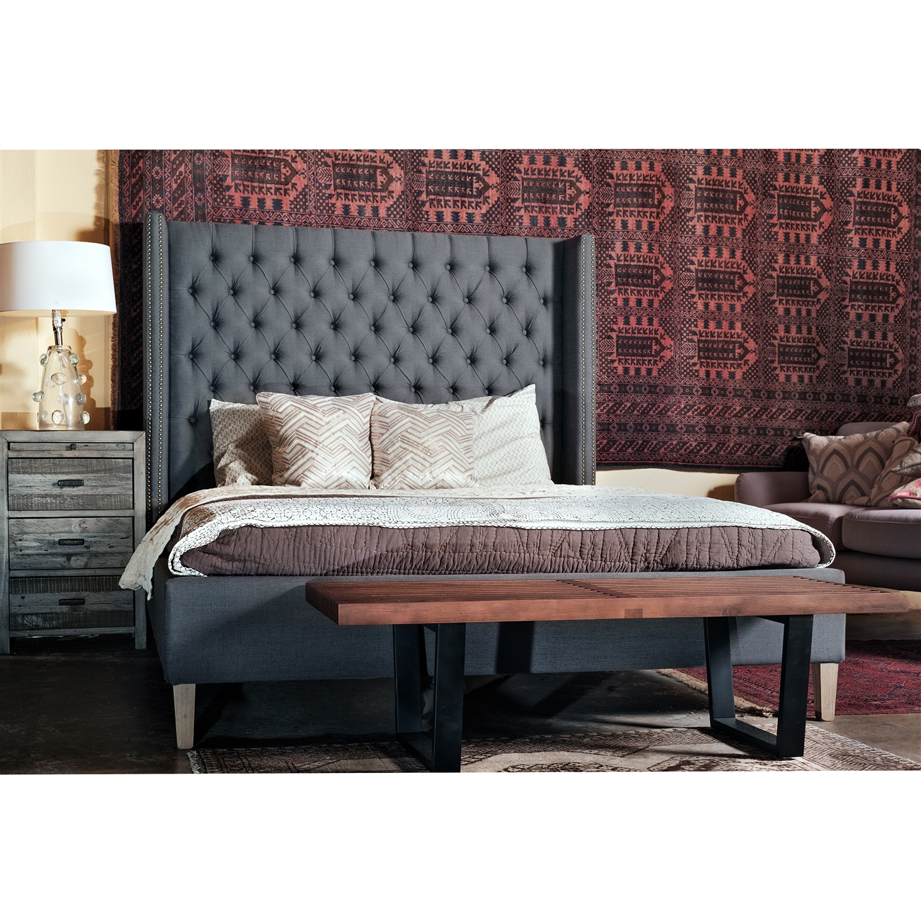 Ash Upholstered Queen Bed, The Khazana Home Austin Furniture Store