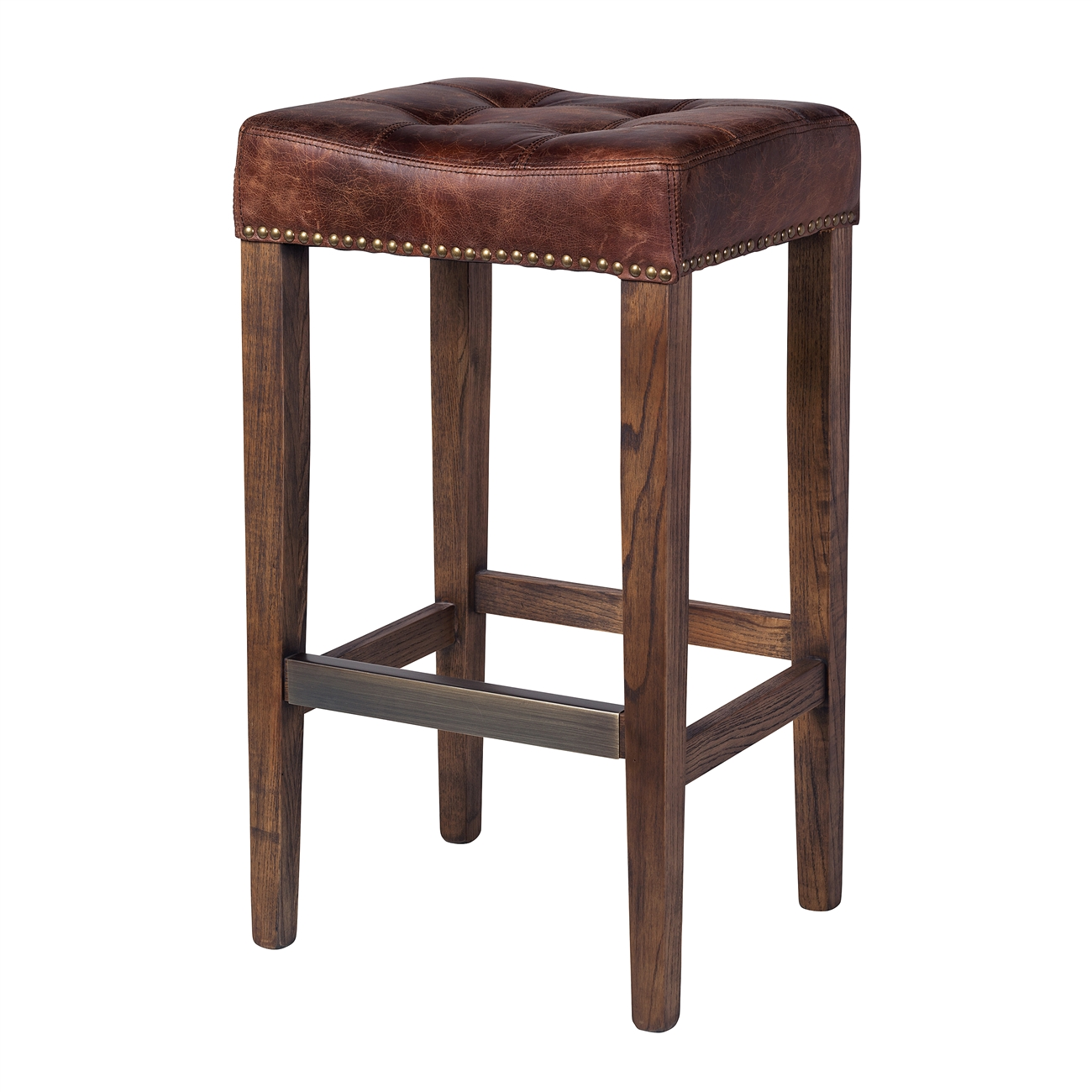 Ash Bar Stool in Vintage Brown Leather  sc 1 st  The Khazana & Ash Bar Stool in Vintage Brown Leather The Khazana Home Austin ... islam-shia.org