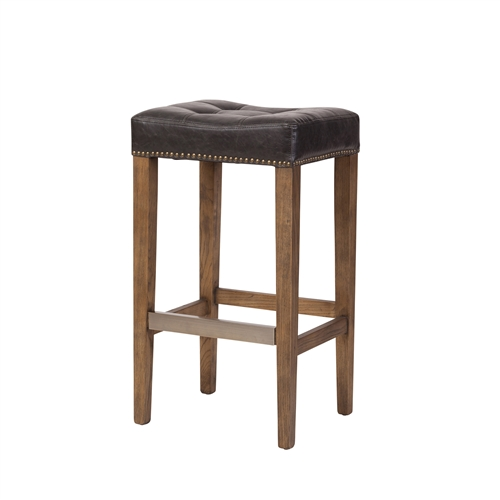 Ash Bar Stool in Biker Black Leather