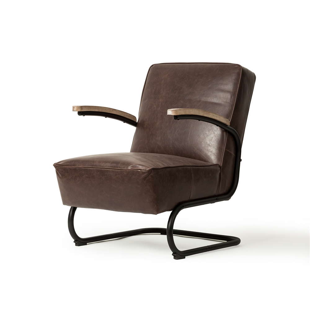Savanah Club Chair in Distressed Brown Leather