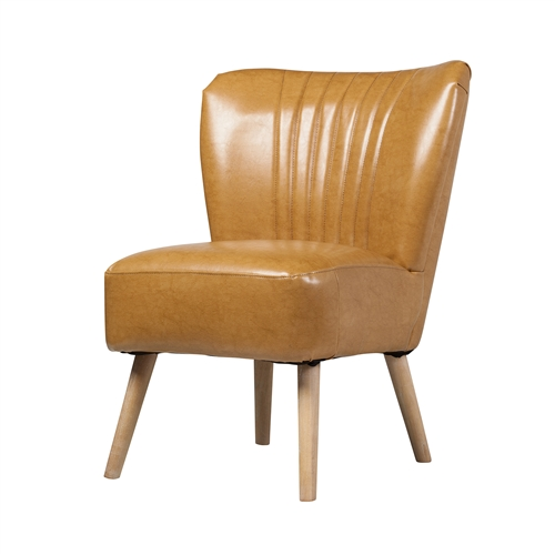 Maxwell Leather Scalloped Occasional Chair