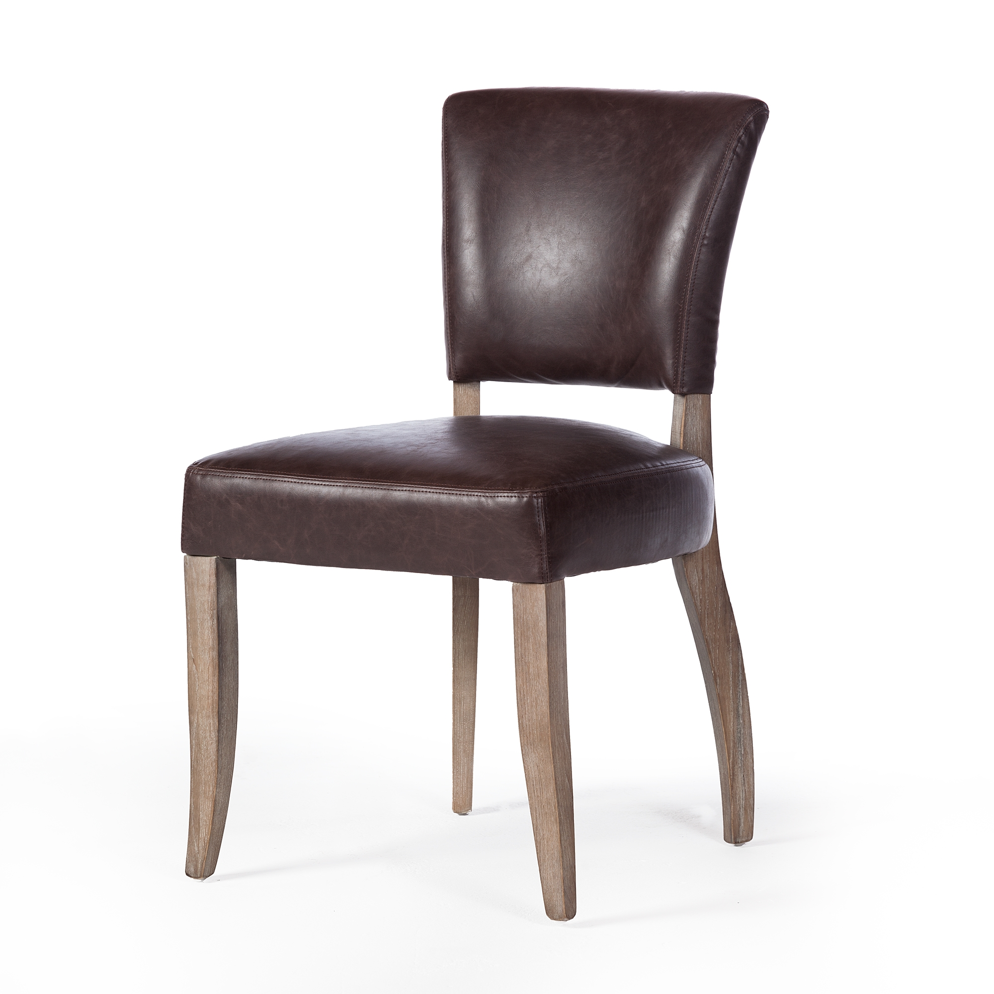 Fabulous Adele Leather Side Chair In Vintage Brown Machost Co Dining Chair Design Ideas Machostcouk