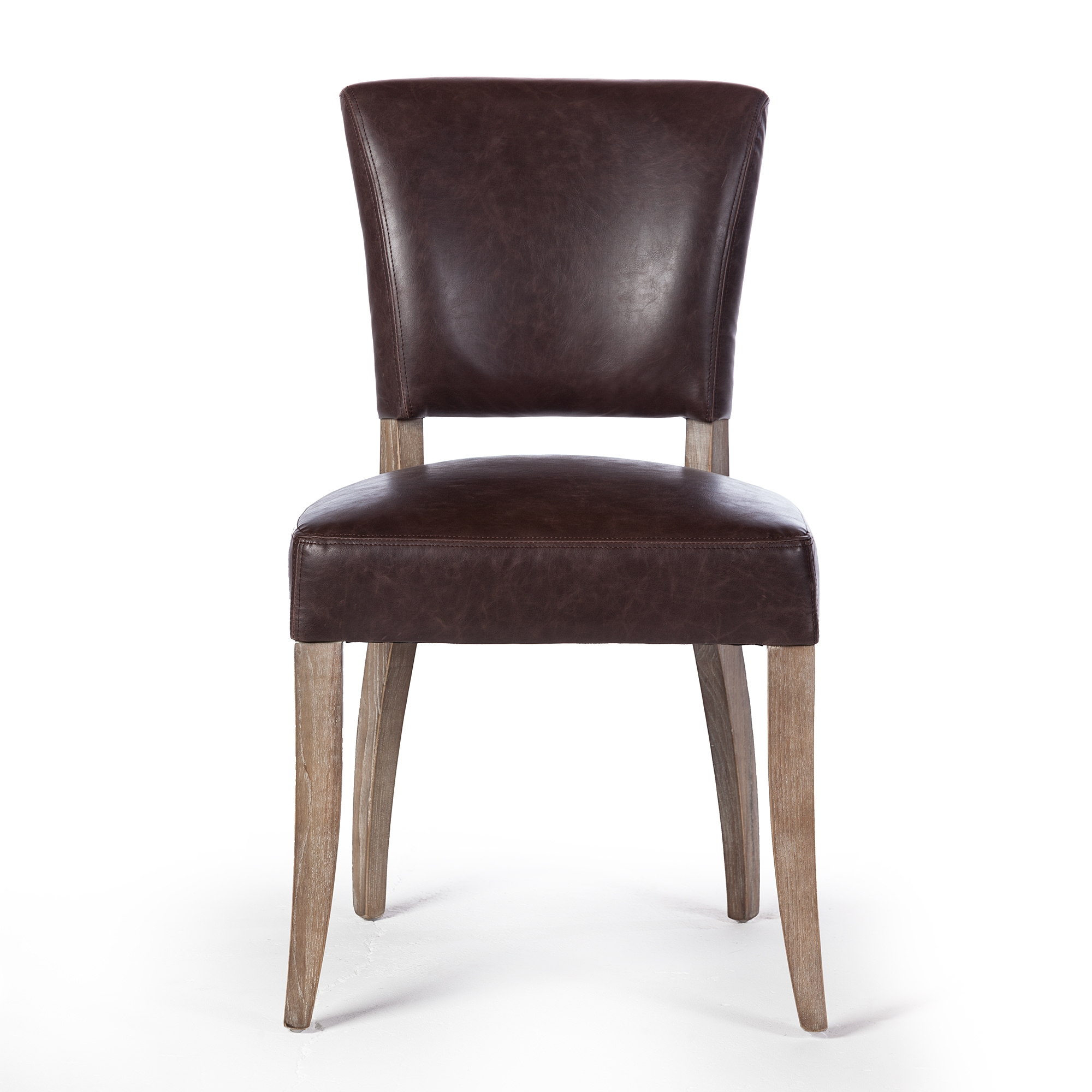Admirable Adele Leather Side Chair In Vintage Brown Machost Co Dining Chair Design Ideas Machostcouk