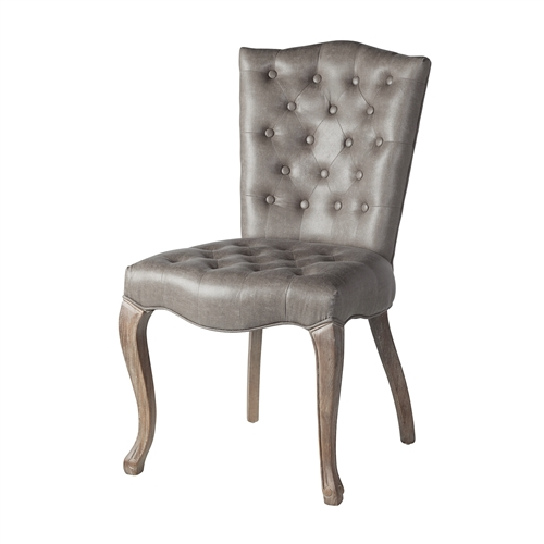 Elegant Grey Leather Dining Chair