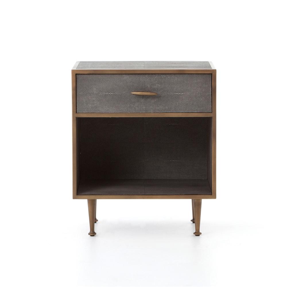 Bentley shagreen bedside table in antique brass the khazana home austin furniture store