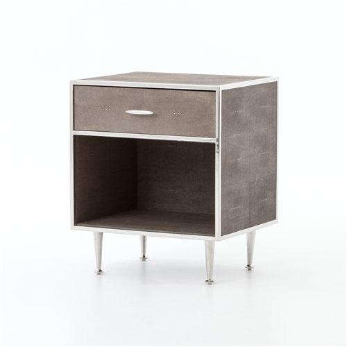 Bentley Shagreen Bedside Table in Stainless Steel