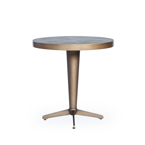 Bentley Shagreen Side Table in Antique Brass