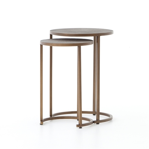 Bentley Shagreen Nesting Table in Antique Brass