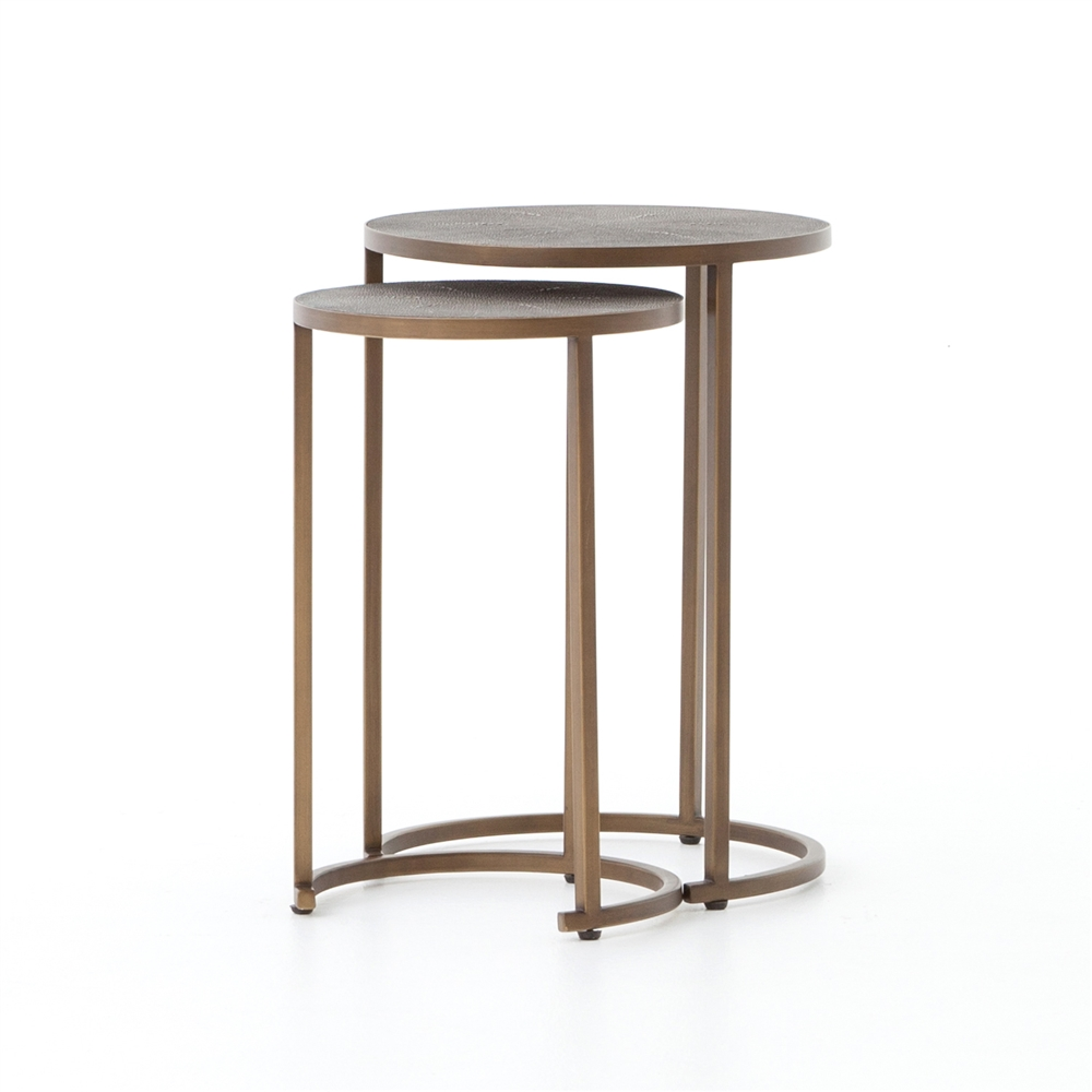 Bentley Shagreen Nesting Table In Antique Brass The Khazana Home - Brushed brass side table
