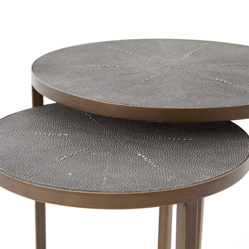 Wonderful Bentley Shagreen Nesting Table in Antique Brass, The Khazana Home  YC23