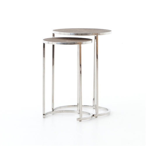 Bentley Shagreen Nesting Table in Stainless