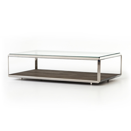 Bentley Shagreen Shadowbox Coffee Table in Stainless Steel
