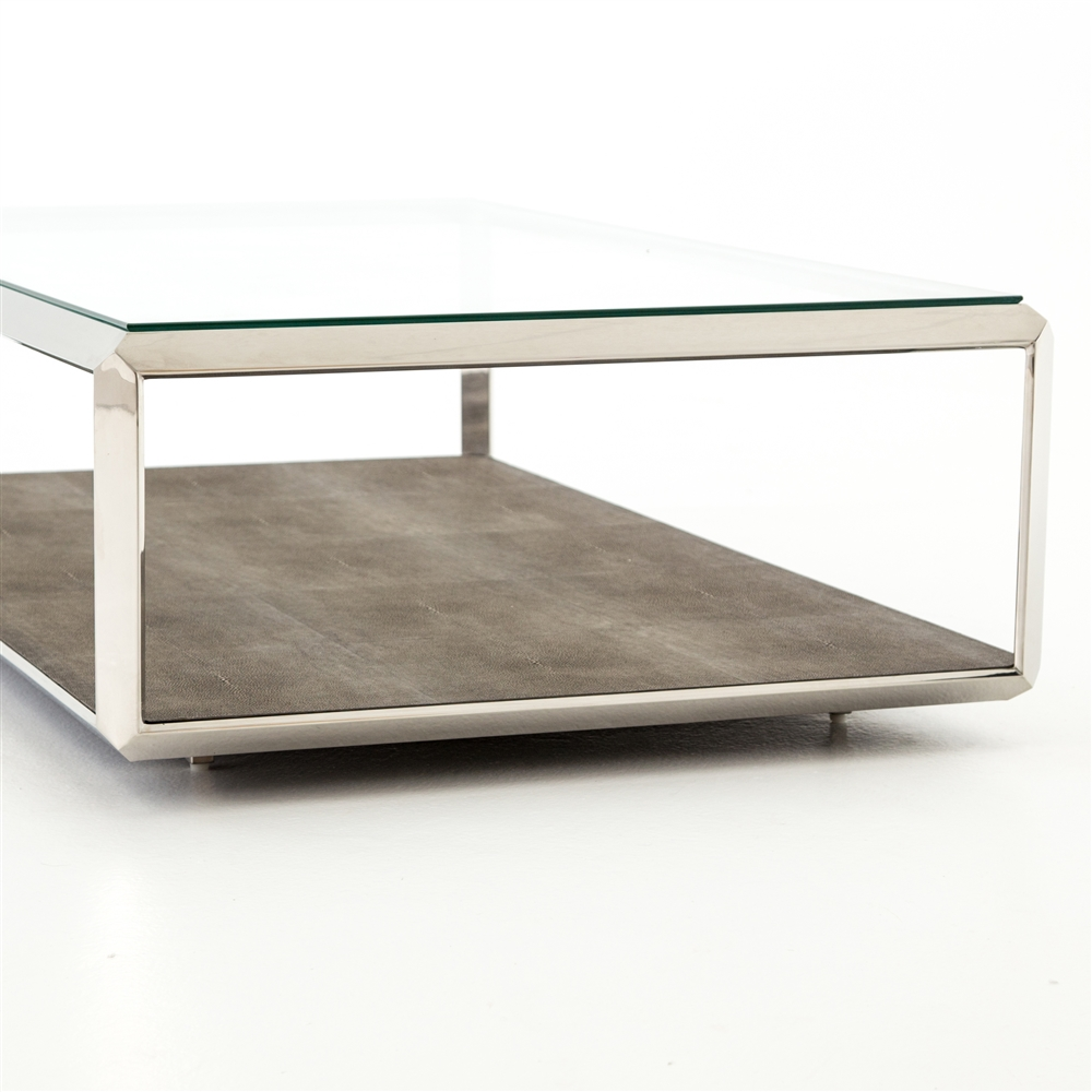 bentley shagreen shadowbox coffee table in stainless steel, the