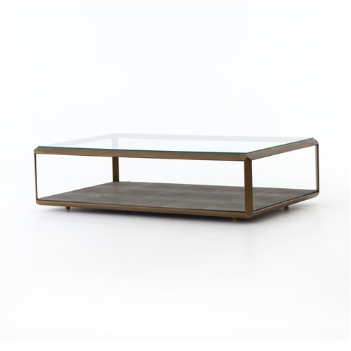 Bentley Shagreen Shadowbox Coffee Table in Antique Brass