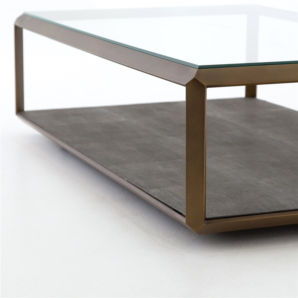 Bentley Shagreen Shadowbox Coffee Table In Antique Brass The - Shadow box coffee table for sale