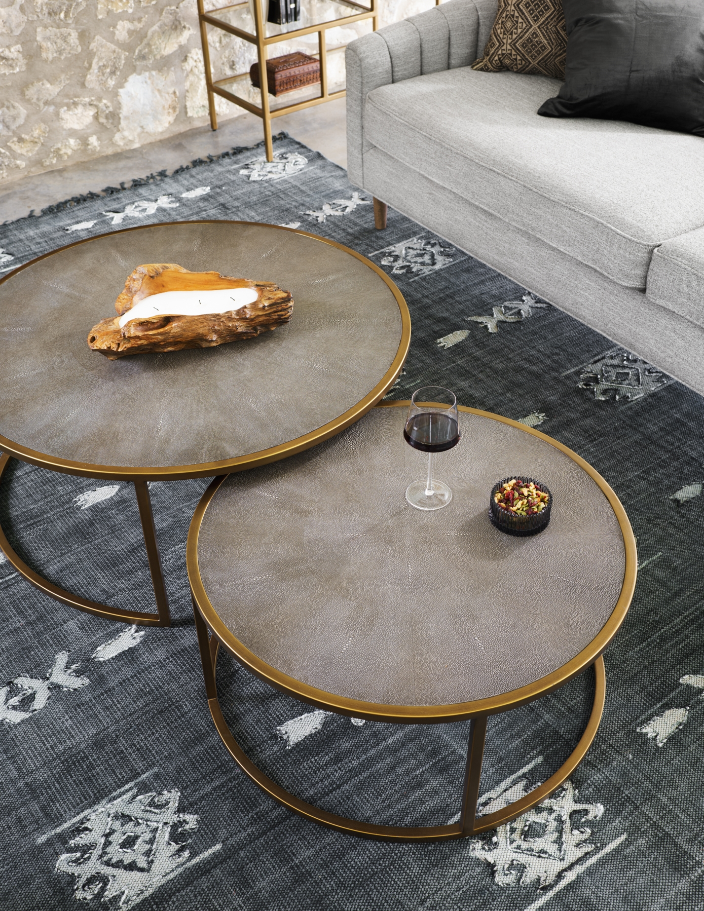 Well-liked Shagreen Nesting Coffee Table DB79