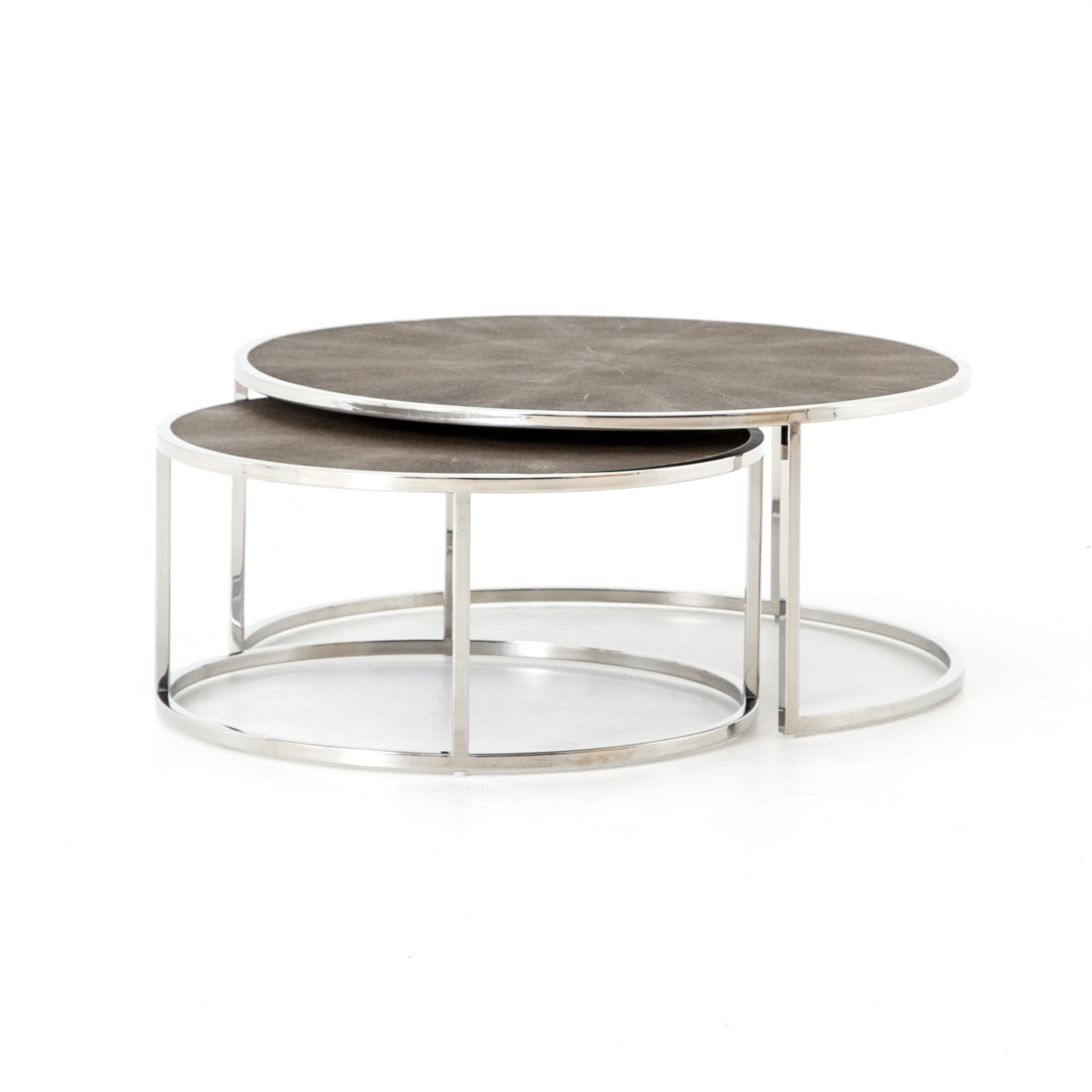 Shagreen Nesting Coffee Table  In Stainless Steel