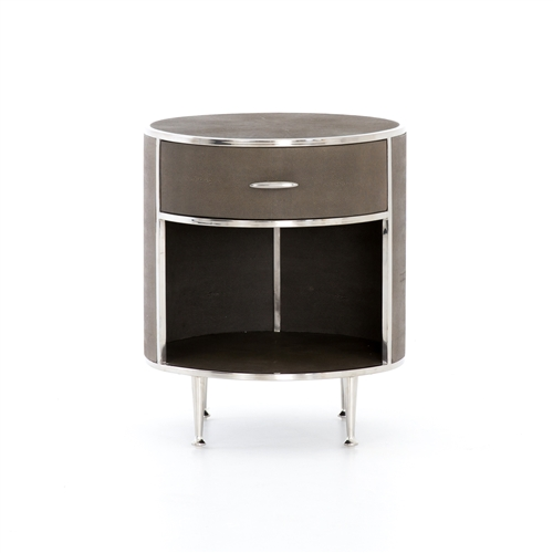 Shagreen Round Nightstand, Stainless Steel