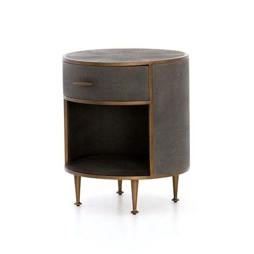 Shagreen Round Nightstand, Antique Brass