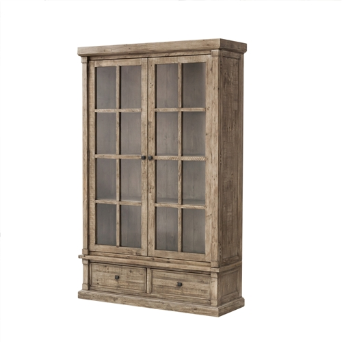 Cintra Large Display Cabinet in Rustic Sundried