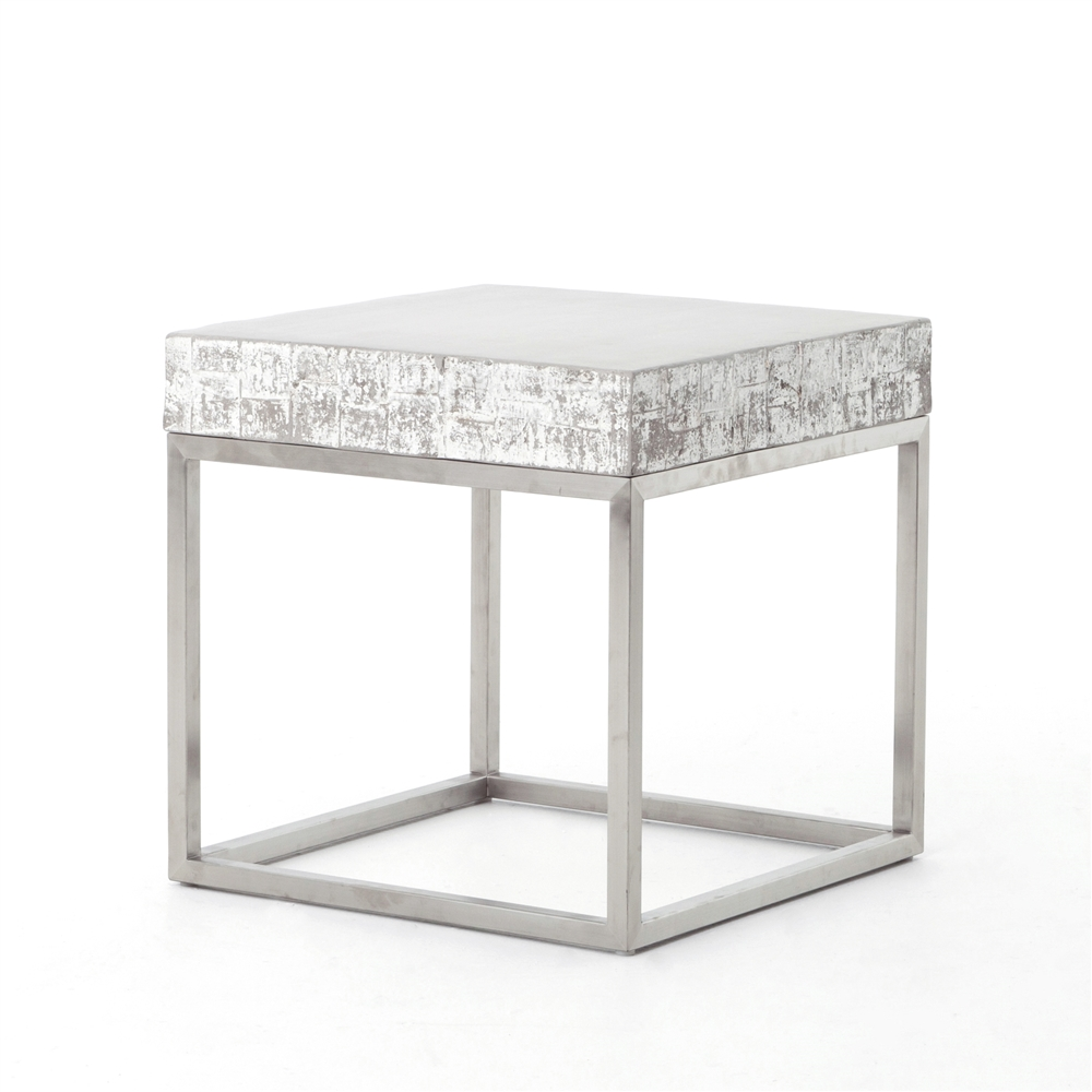 Lovely Constantine Concrete And Chrome End Table
