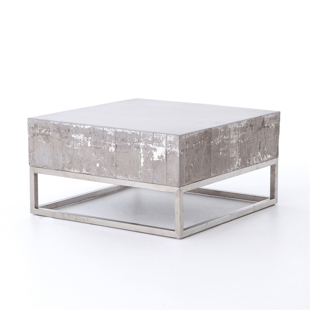 Constantine concrete coffee table khazana home austin furniture constantine concrete and chrome coffee table geotapseo Gallery