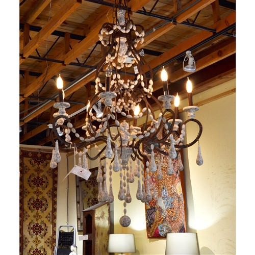 Wood Beads and Iron Chandelier