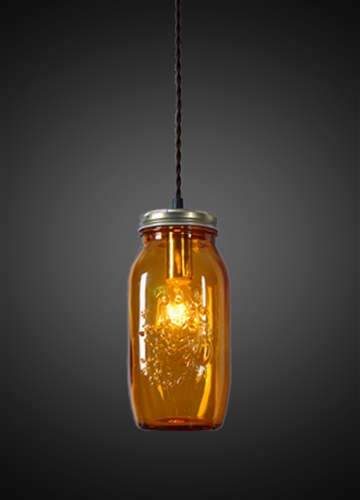 Amber Ball Jar Pendant