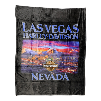 50 x 60-inch Black Harley Micro Raschel Throw Blanket w/ Vegas Skyline