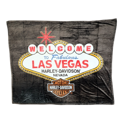 50 x 60-inch Black Harley Throw Blanket - Las Vegas Welcome Sign