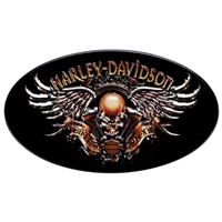 Oval Skull and Wings Biker to the Bone Harley Magnet