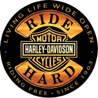 Ride Hard Round Tin H-D Sign