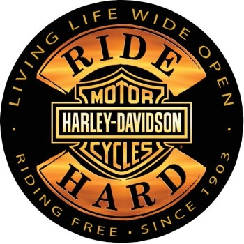 Tin Black & Gold Harley Ride Hard Sign - Round - Shop.LVHD.com